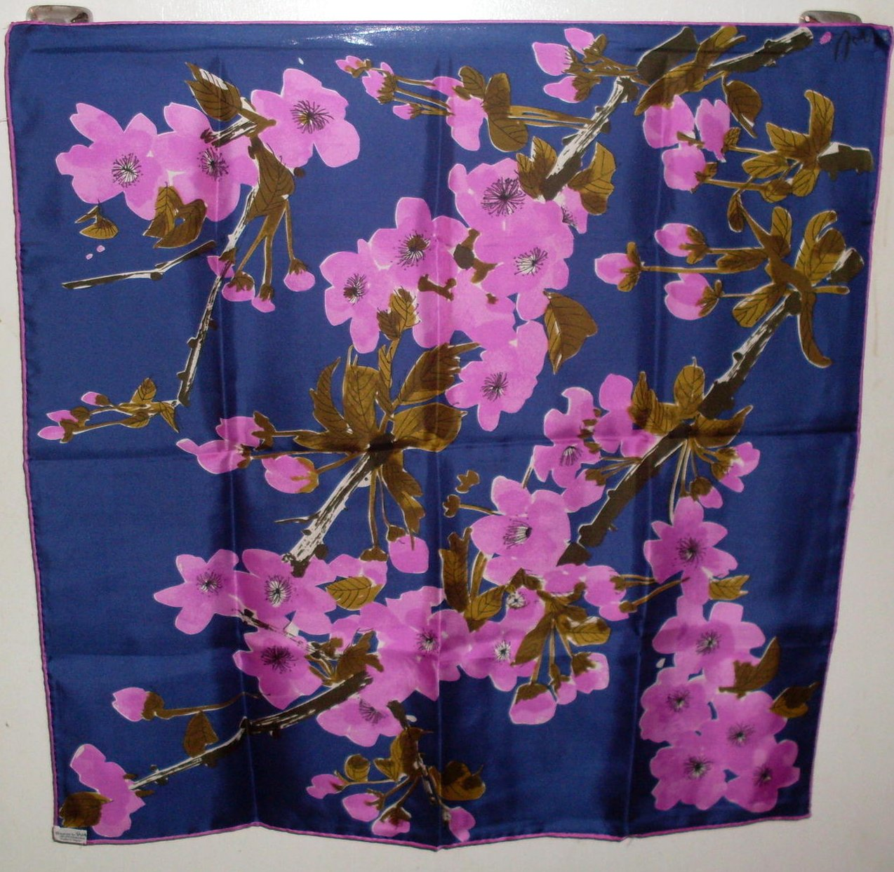 Image 2 of Vera Floral Print Silk Scarf Purple Pink Olive 25 x 25