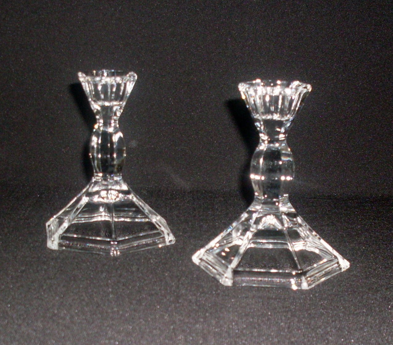 Elegant Six Sided Crystal Candlesticks, Set of 2