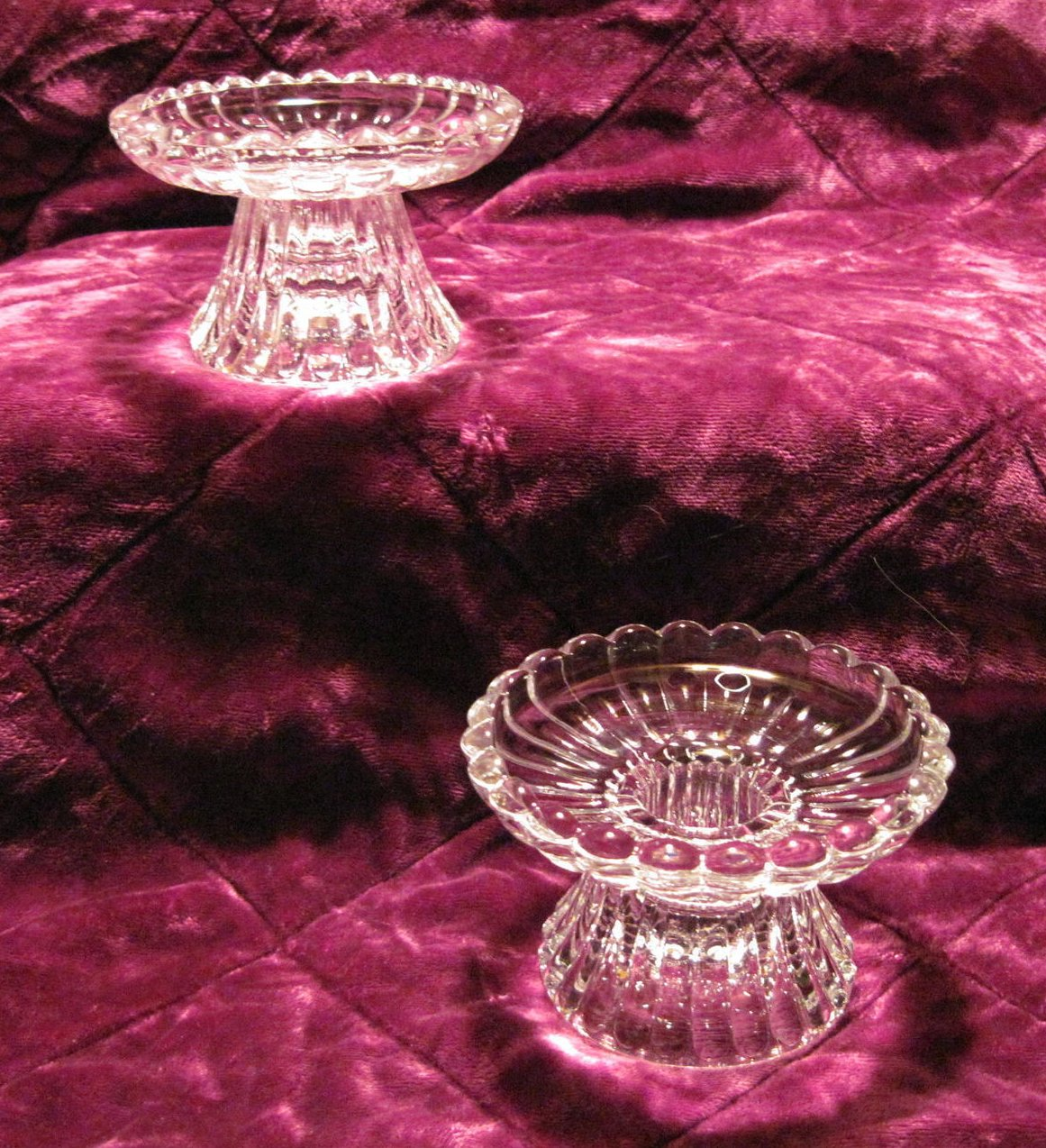 Scalloped Crystal Candle Holders for Votives or Candlesticks