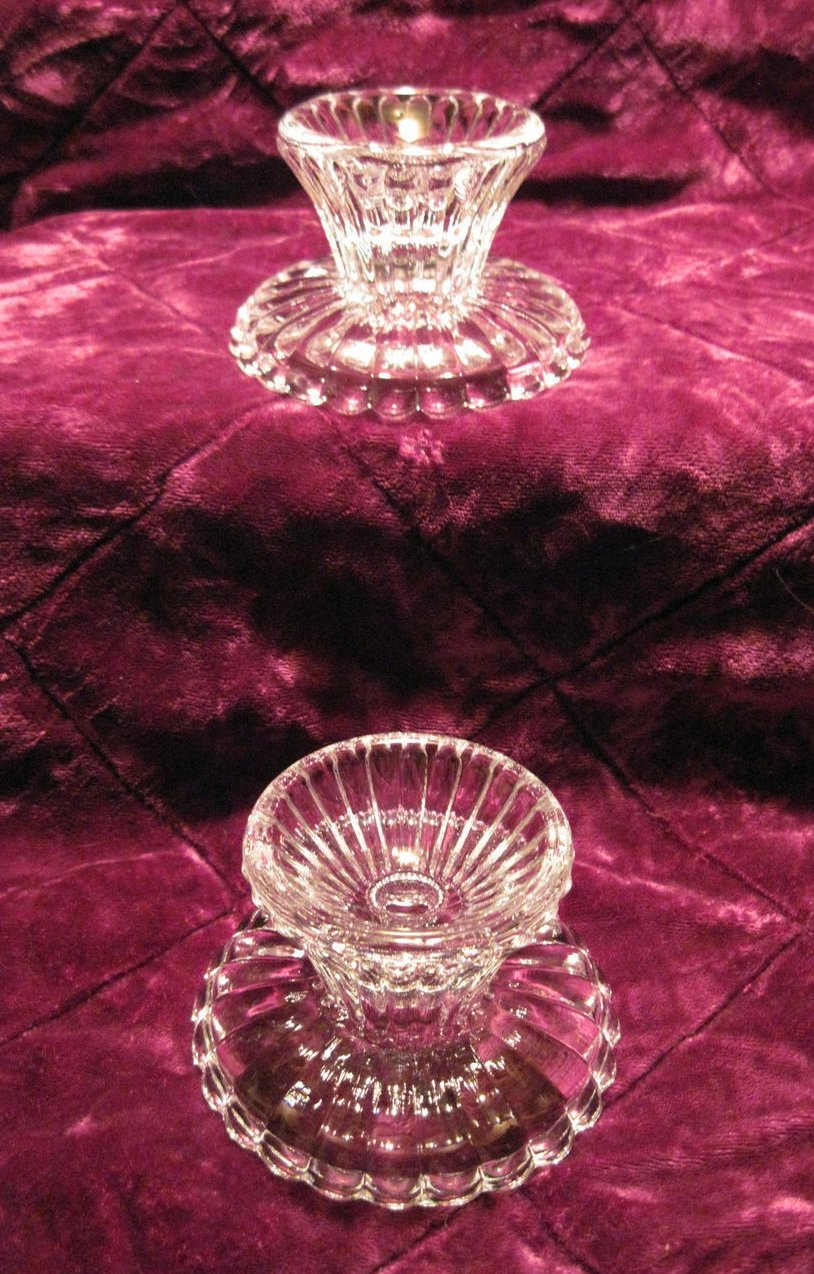 Image 1 of Scalloped Crystal Candle Holders for Votives or Candlesticks
