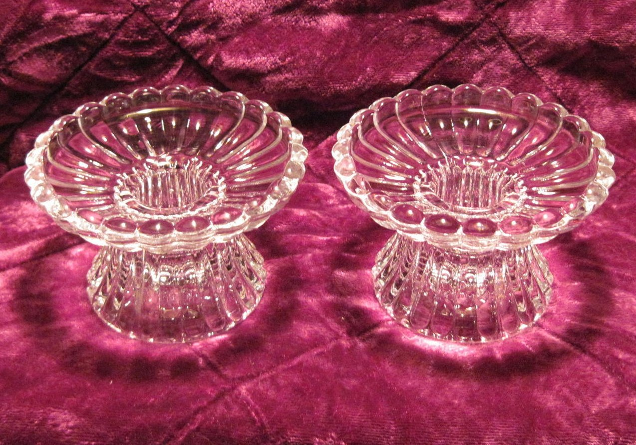 Image 5 of Scalloped Crystal Candle Holders for Votives or Candlesticks