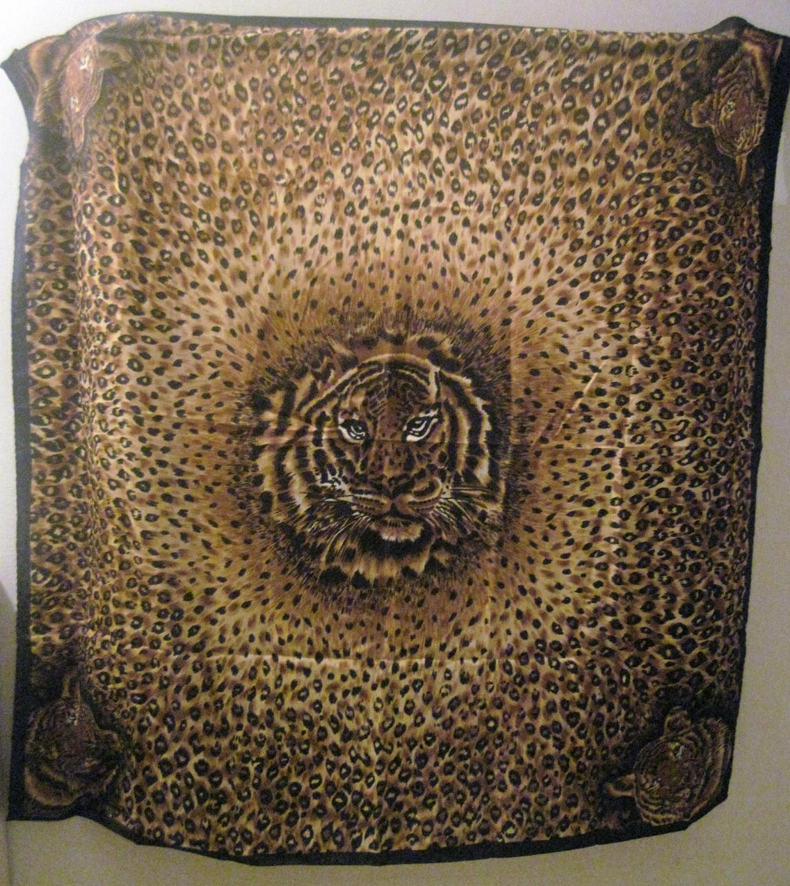 Large Tiger and Animal Print Scarf Brown 35 X 35