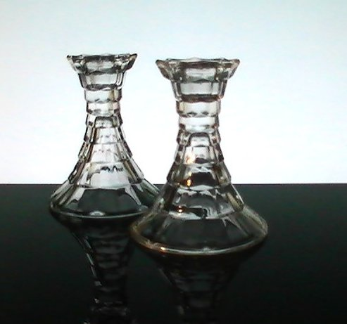 Crystal Candlesticks Homco Fostoria Style, Set of 2
