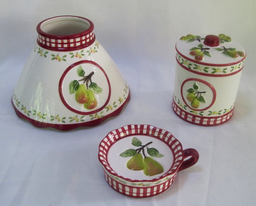 Candle Shade and Holder Gingham Check Pears 4 piece set