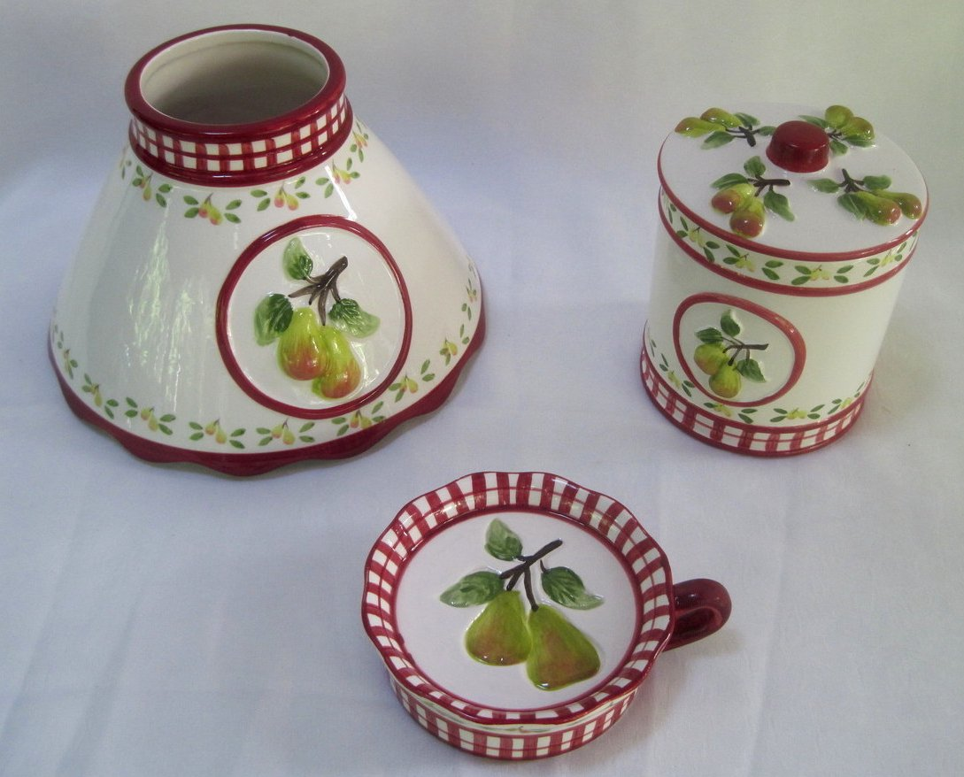 Image 1 of Candle Shade and Holder Gingham Check Pears 4 piece set