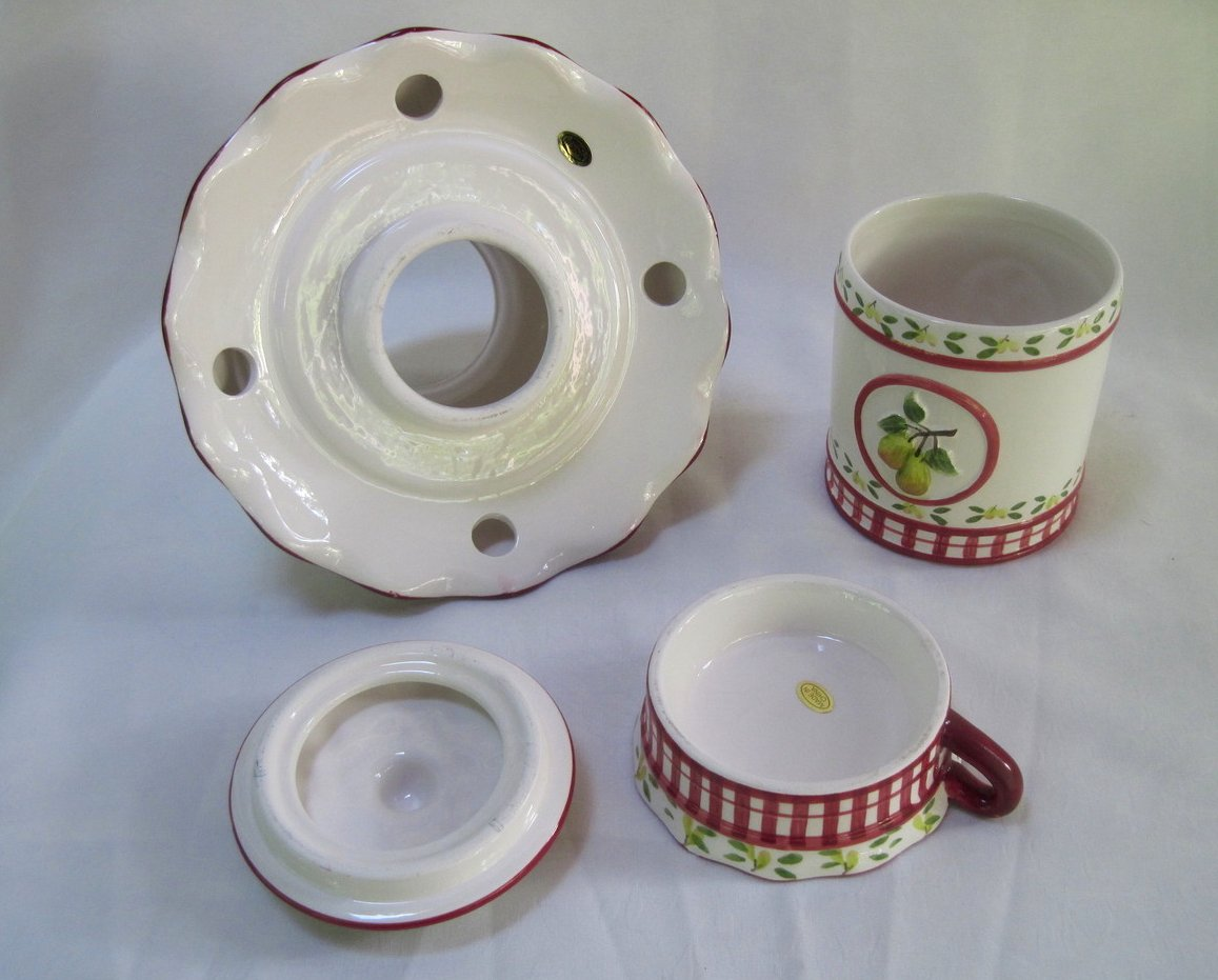Image 2 of Candle Shade and Holder Gingham Check Pears 4 piece set