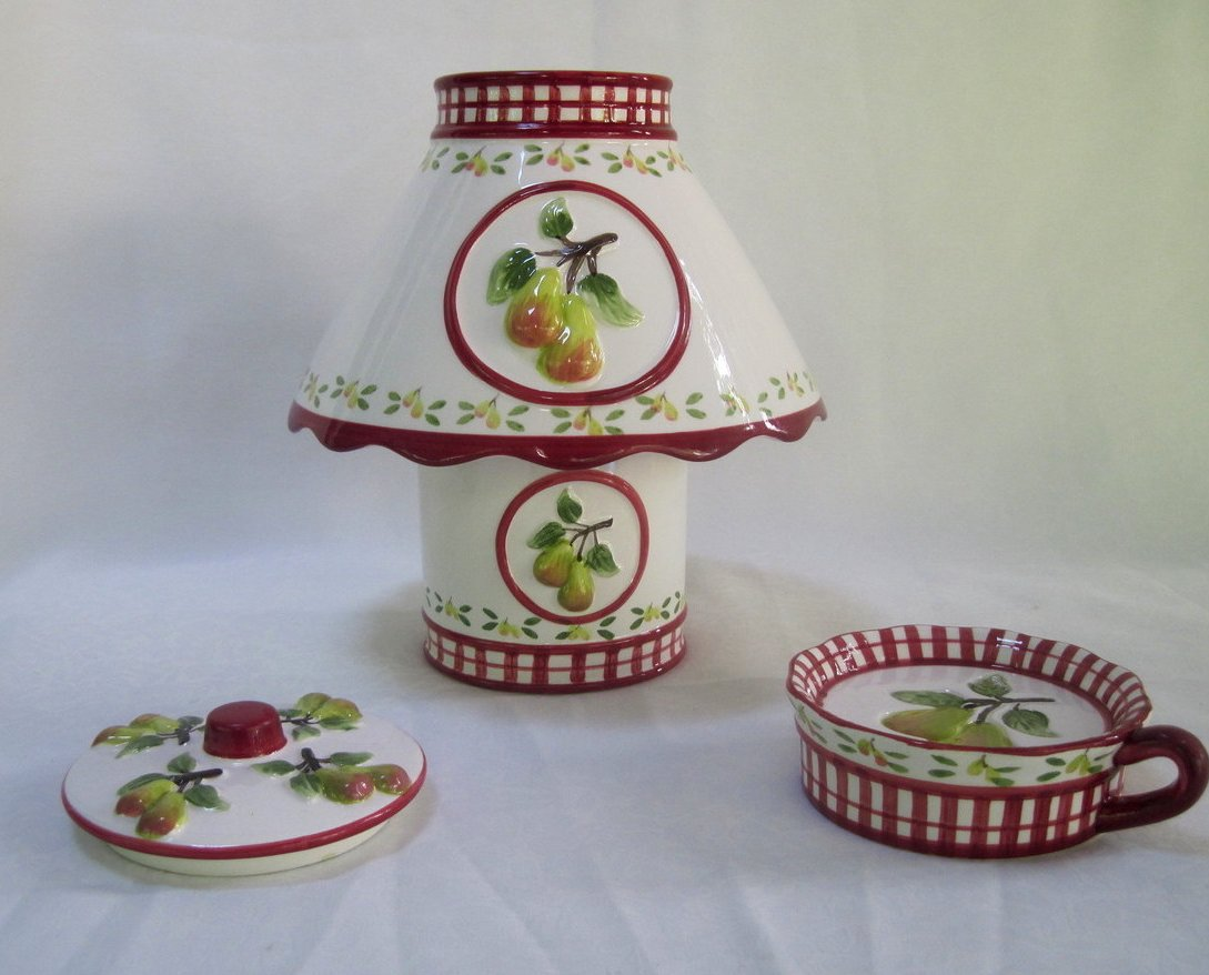 Image 3 of Candle Shade and Holder Gingham Check Pears 4 piece set