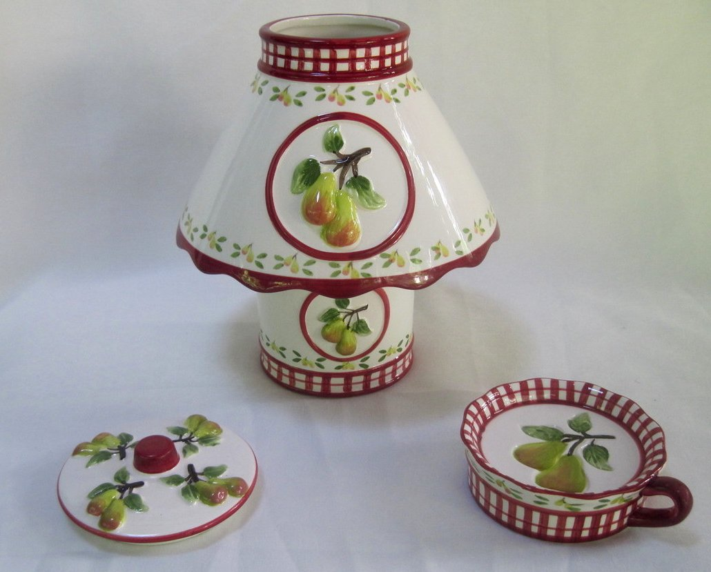 Image 4 of Candle Shade and Holder Gingham Check Pears 4 piece set