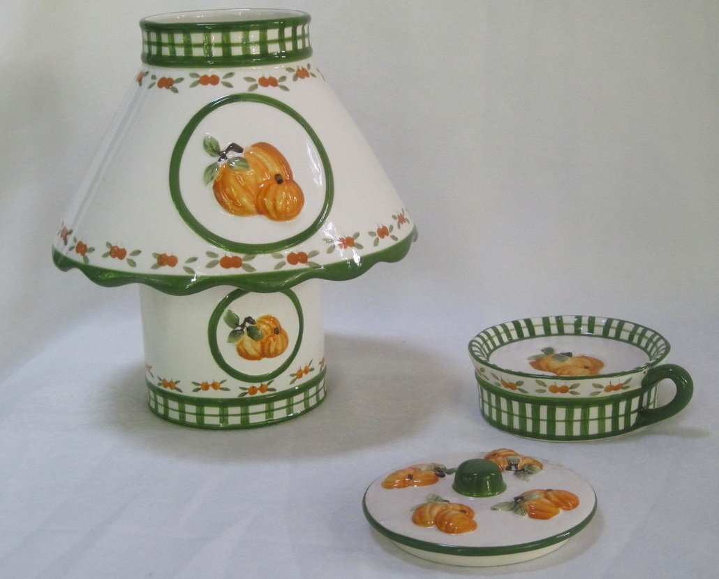 Image 2 of Candle Shade and Holder Gingham Check Pumpkins 4 piece Set Autumn