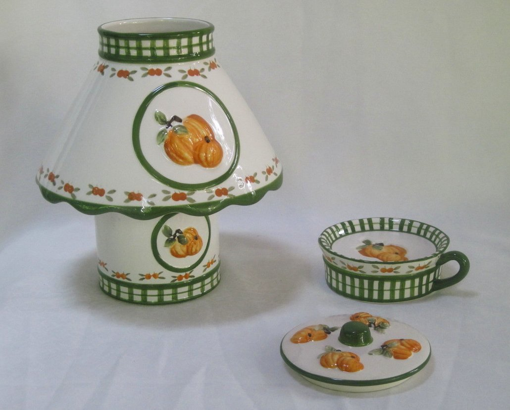 Image 3 of Candle Shade and Holder Gingham Check Pumpkins 4 piece Set Autumn