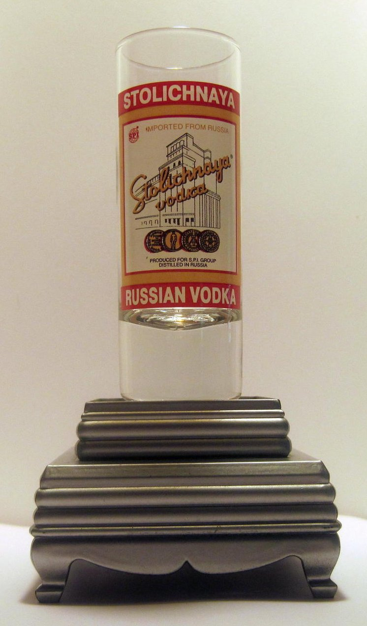 Stolichnaya Vodka Tall Collectible Shot Glass 2 oz