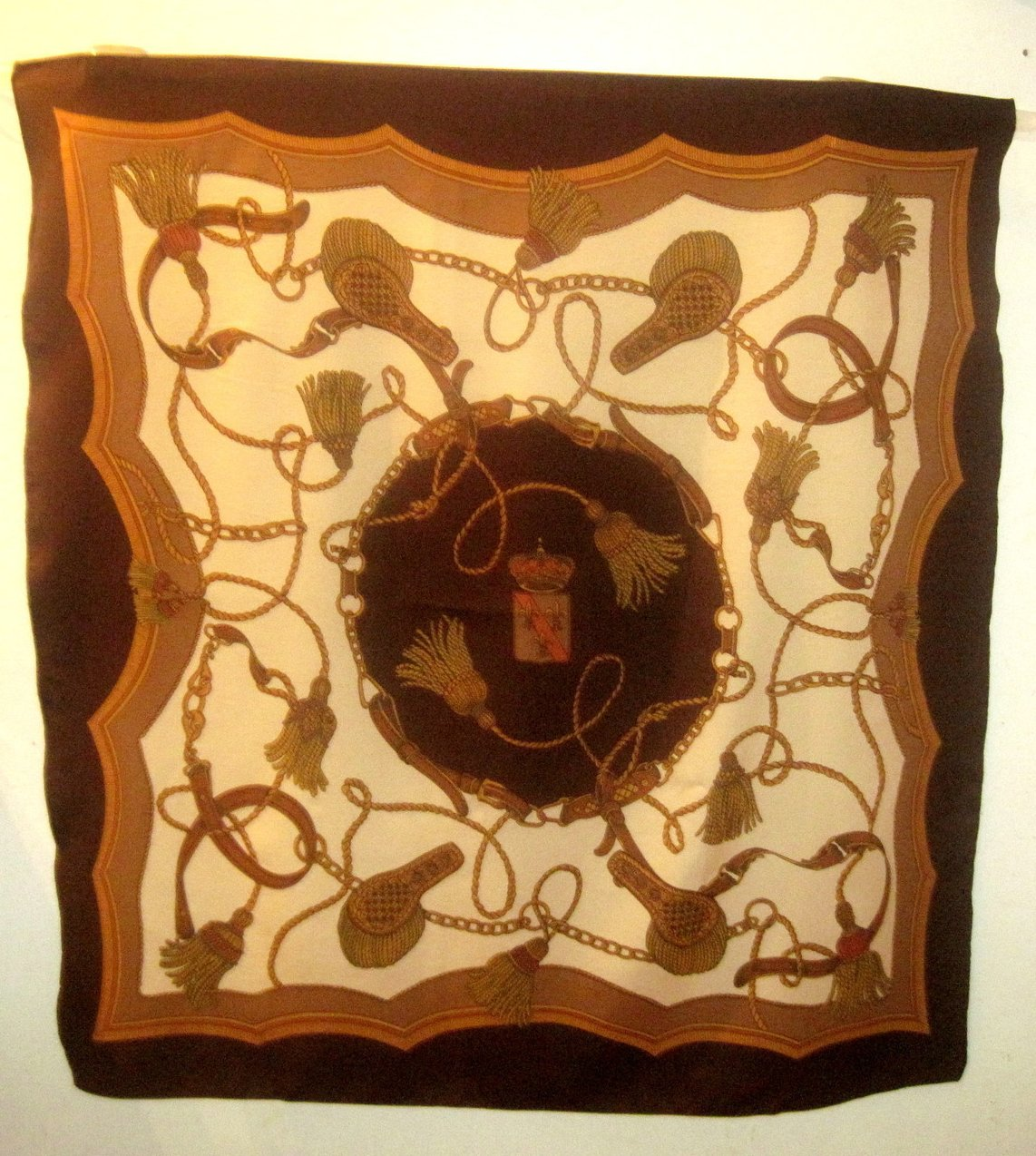 Leather Rope and Tassels Print Scarf Brown 35 X 33
