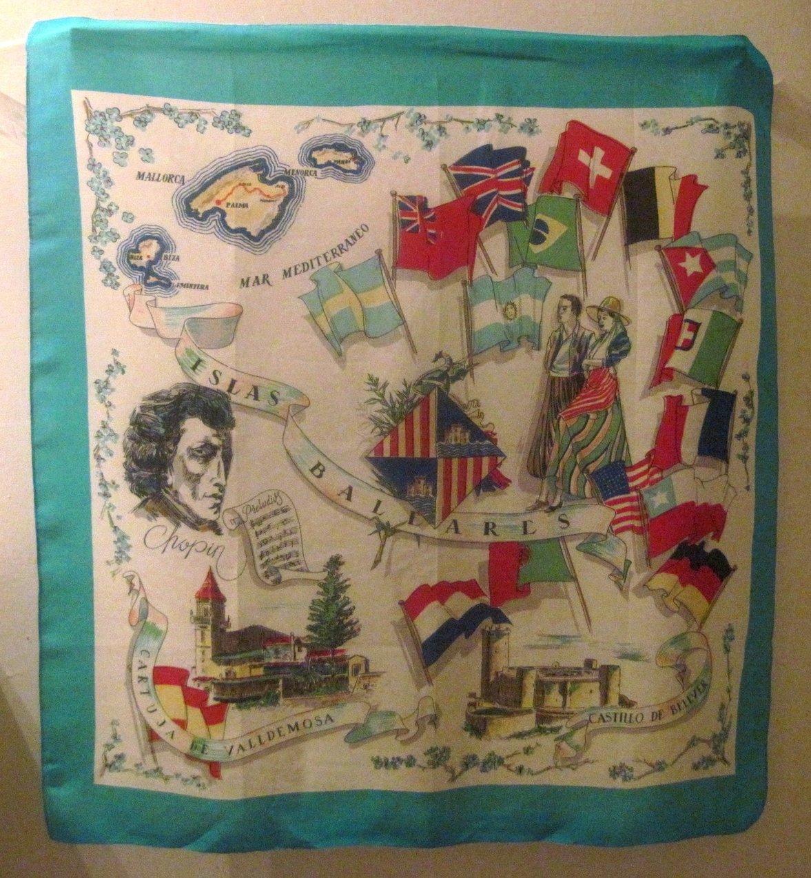 Mediterranean Balearic Islands Print Turquoise Scarf 29 X 31