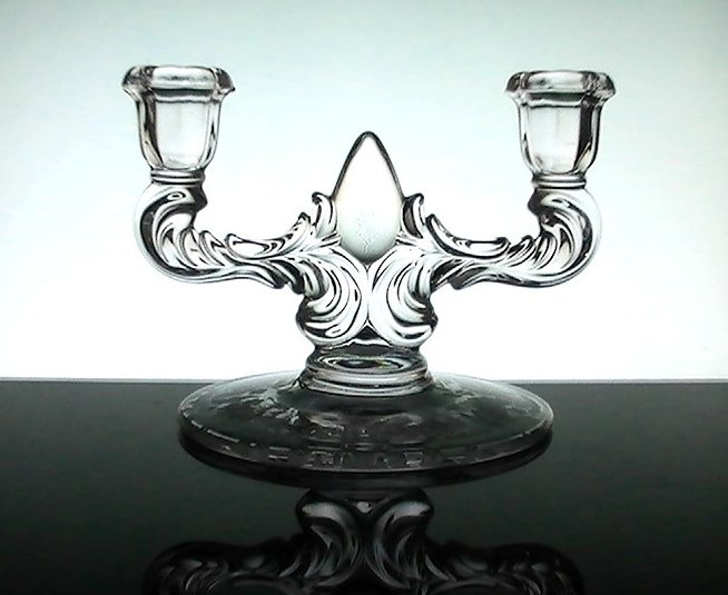 Double Candelabra Meadow Wreath New Martinsville Crystal Floral Etching