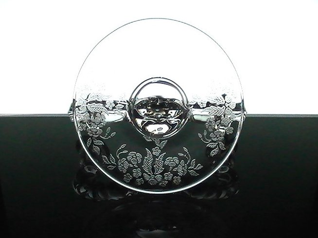 Image 1 of Double Candelabra Meadow Wreath New Martinsville Crystal Floral Etching