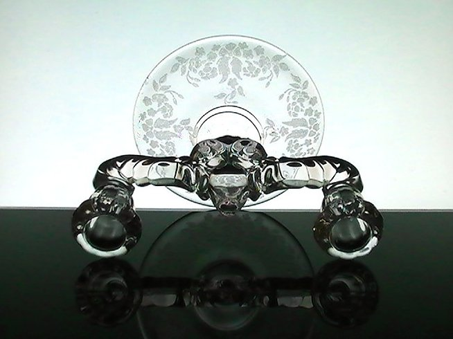 Image 4 of Double Candelabra Meadow Wreath New Martinsville Crystal Floral Etching
