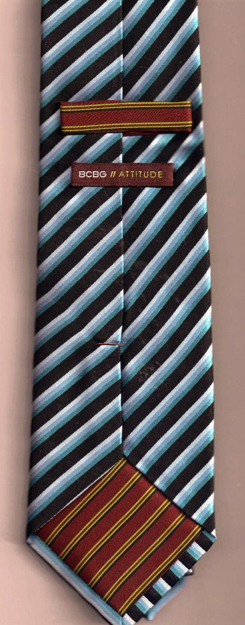 '.BCBG Tie Blue Black Stripe.'