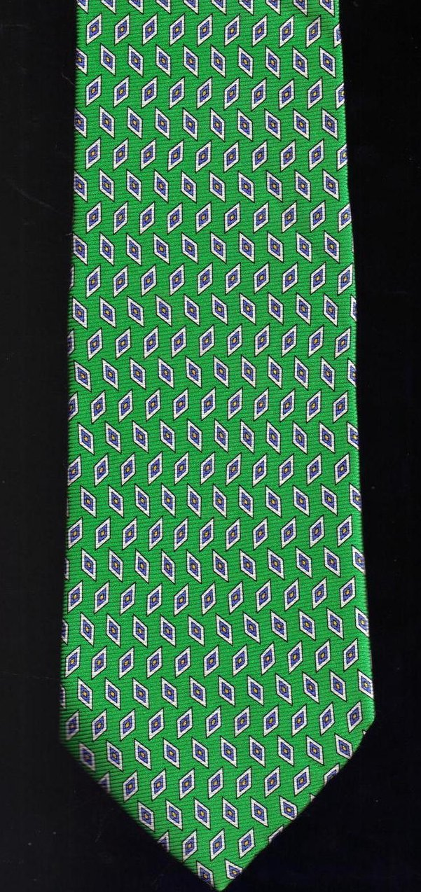 Image 1 of Roundtree & York Tie Mens Necktie Silk Green Blue Print