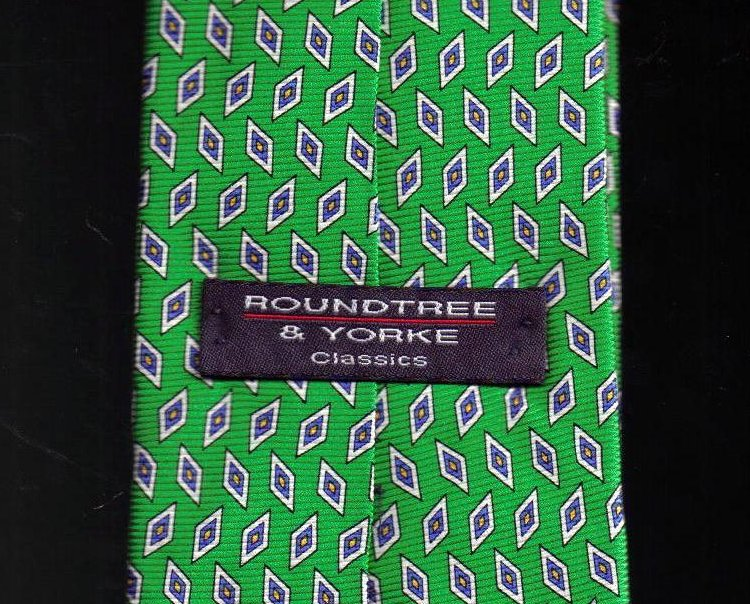 Image 2 of Roundtree & York Tie Mens Necktie Silk Green Blue Print