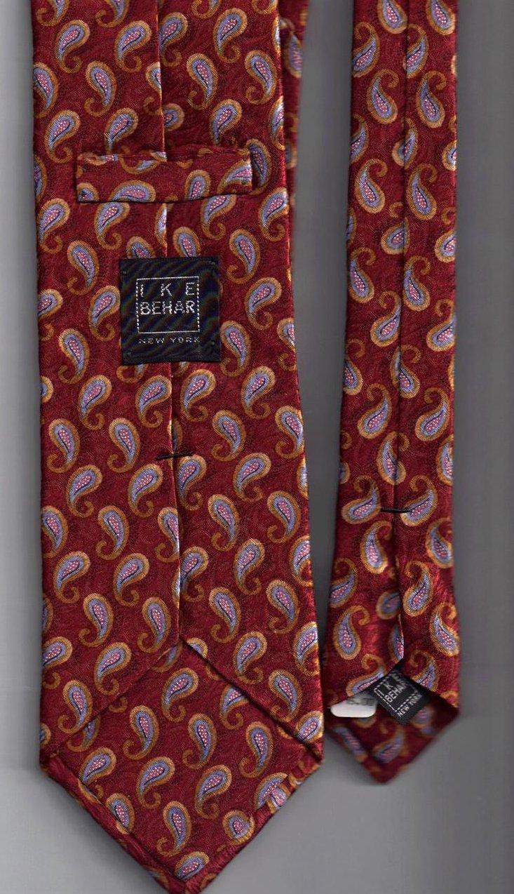 Image 1 of Ike Behar Tie Mens Necktie Silk Orange Silver Paisley