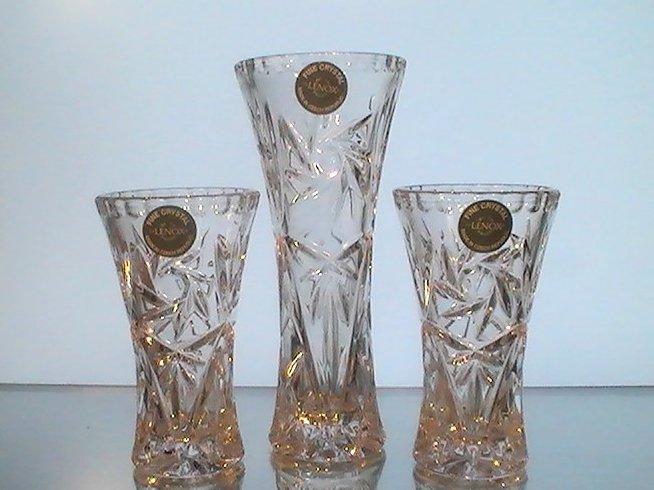 Image 4 of Lenox Fine Crystal Star Vases Collection Set of 3 NIB