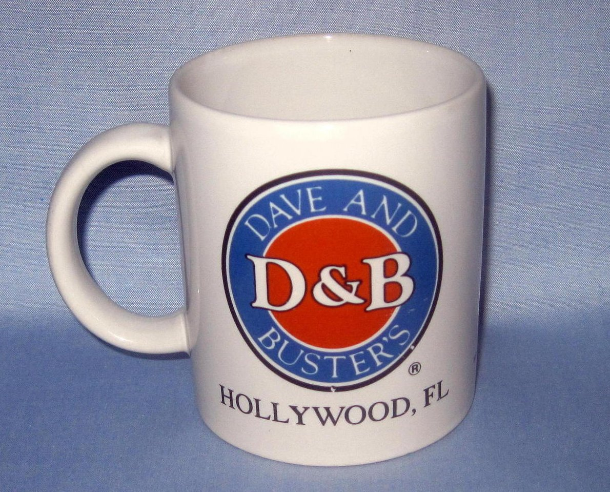 Coffee Cup Mug Dave & Busters Hollywood Fl 12 oz