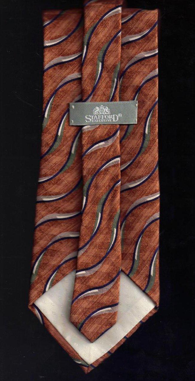 Image 2 of Stafford Mens Silk Tie Necktie Brown Black Gray