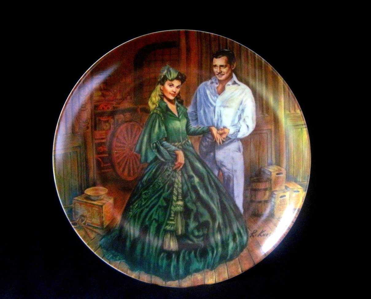 Gone with the Wind Plate Scarletts Green Dress Knowles Collector Plate MIB