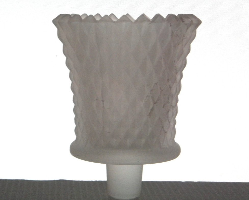 Home Interiors Peg Votive Candle Holder Frosted White Diamond Cut