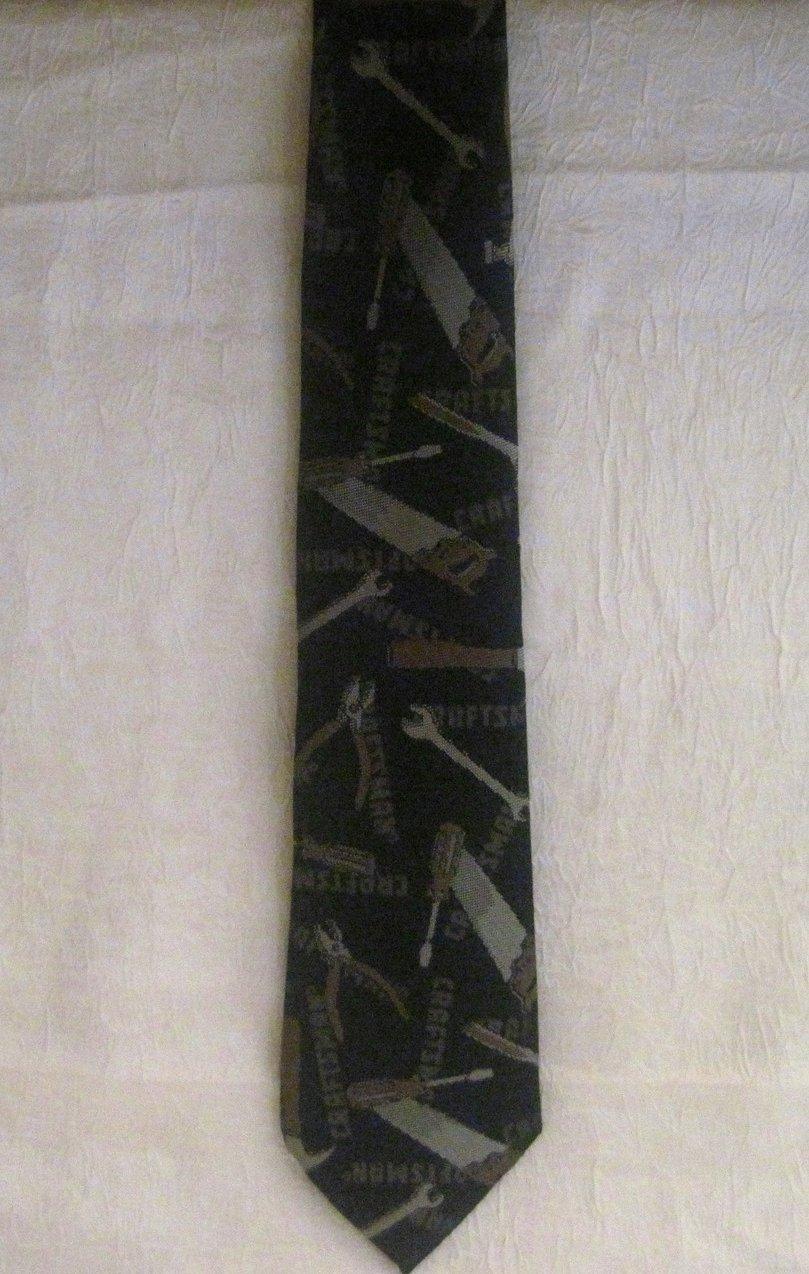 Image 1 of Ralph Marlin Craftsman Tie Necktie Gray Tool Print