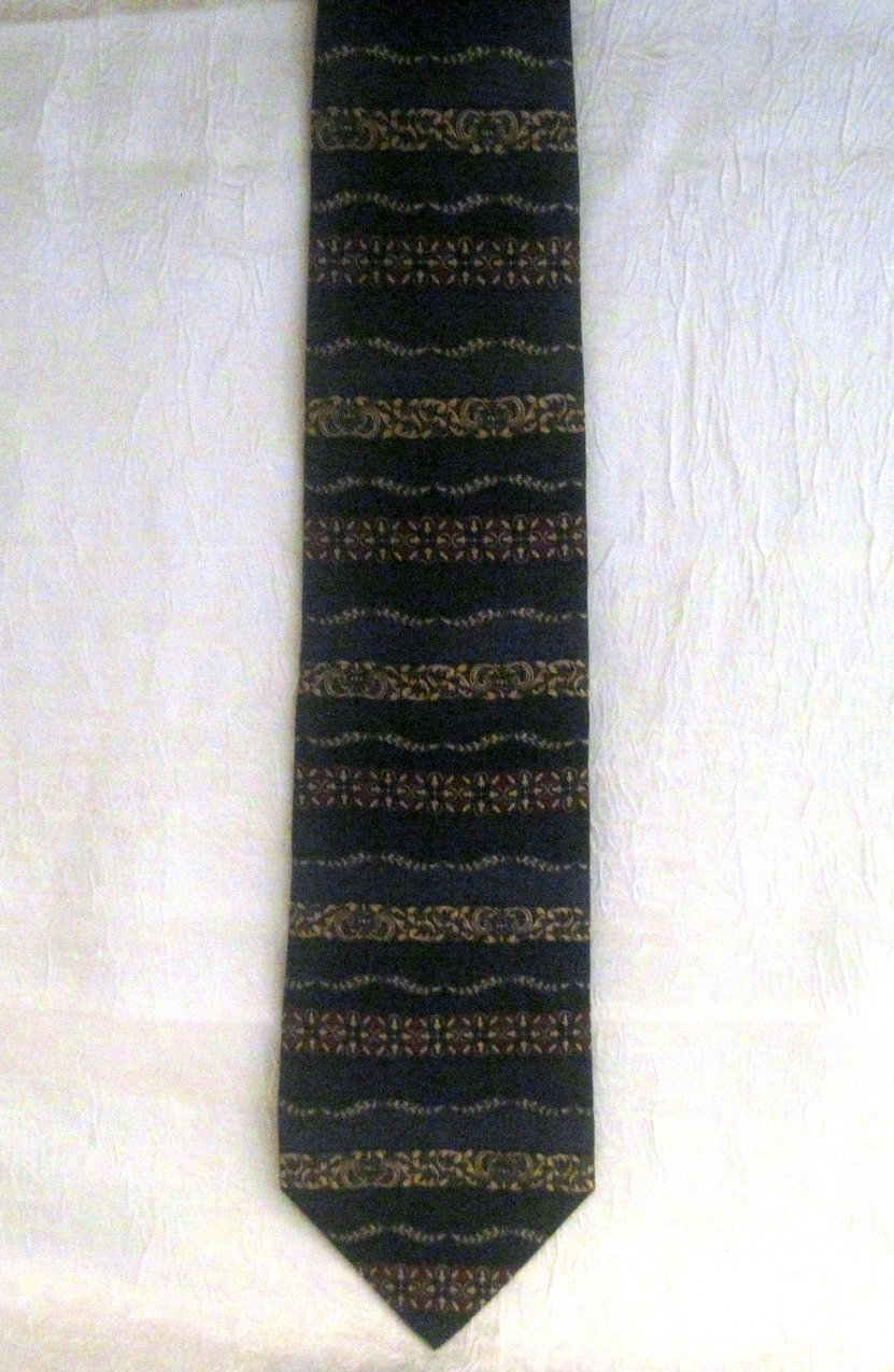 Image 1 of Roundtree & York Navy Silk Necktie Persian Paneled Print Tie