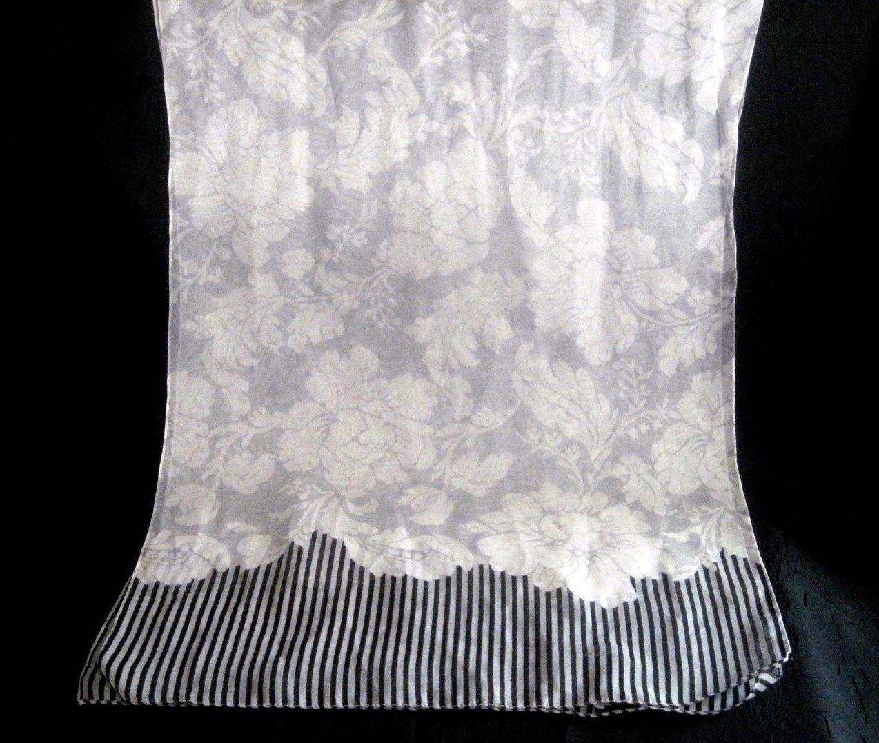 Peony Print Scarf White Gray Black 60 X 15 Semi Sheer