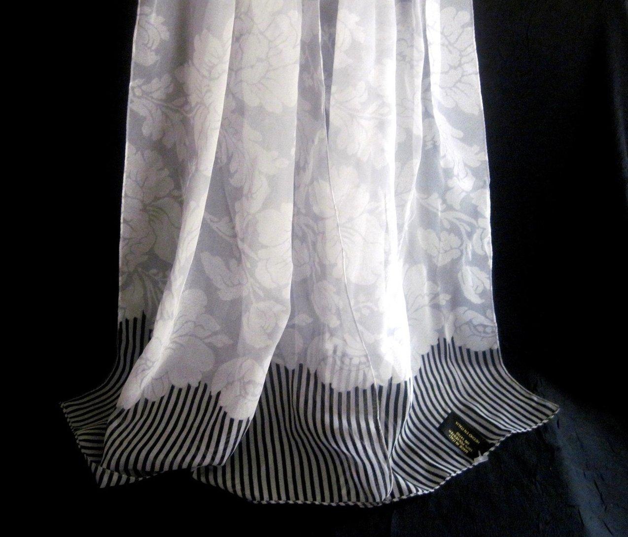 Image 1 of Peony Print Scarf White Gray Black 60 X 15 Semi Sheer