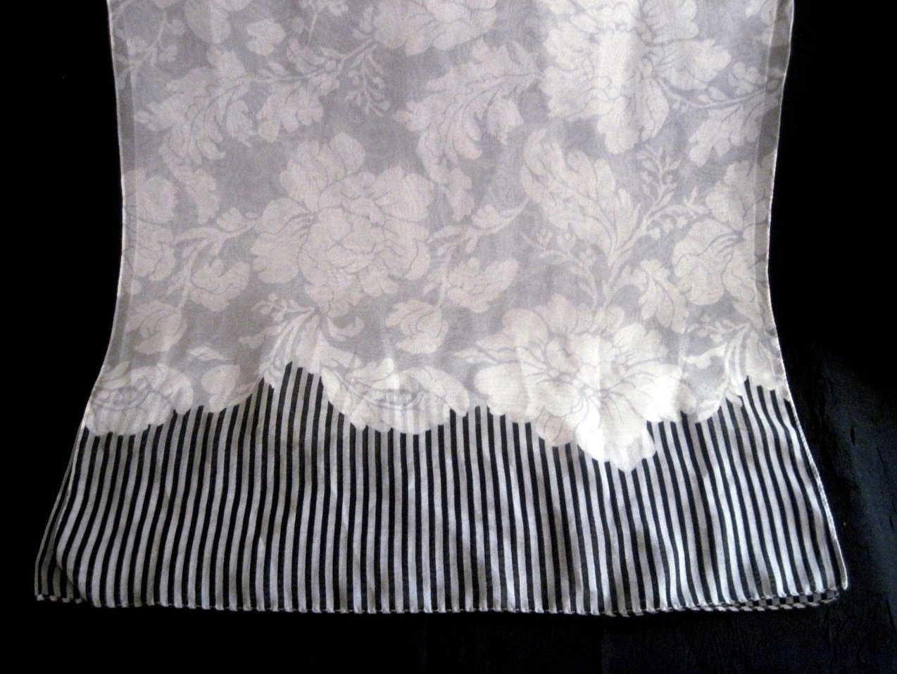 Image 2 of Peony Print Scarf White Gray Black 60 X 15 Semi Sheer