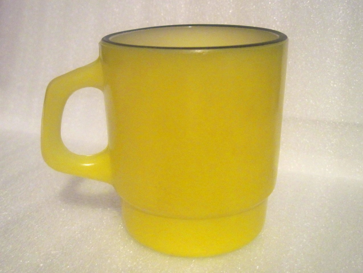 Coffee Mug Fire King Yellow Black Rim Stackable Rare Handle Vintage