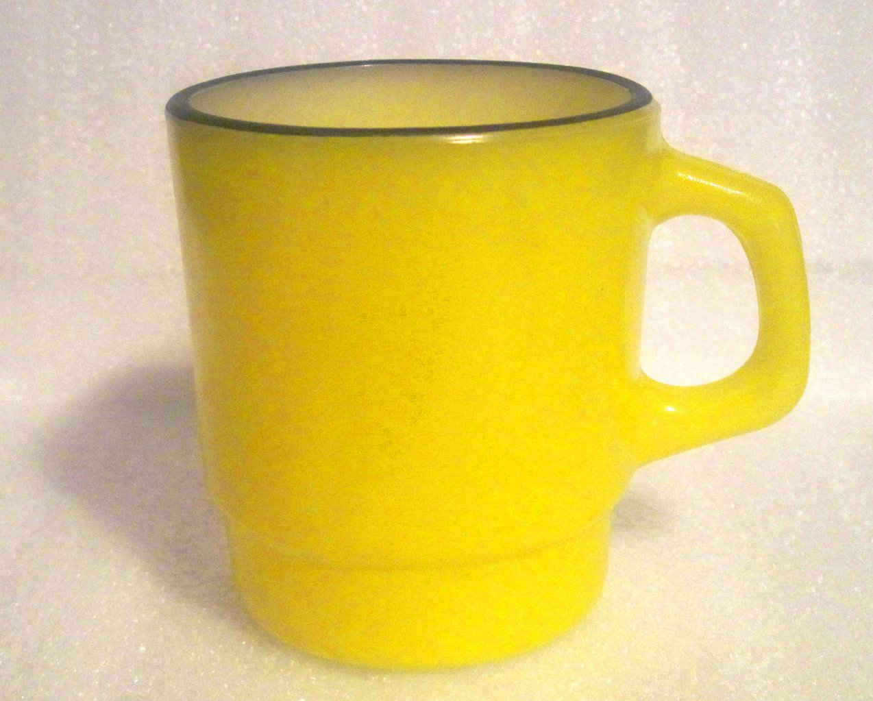 Fire King Yellow Black Rim Stackable Mug Rare Handle