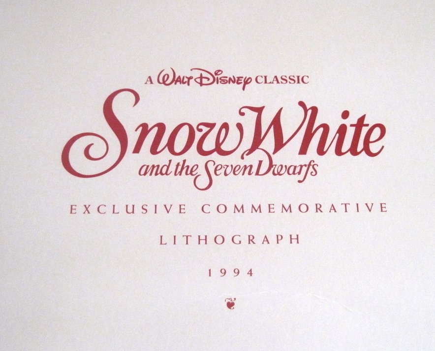 Image 2 of Snow White and the Seven Dwarfs Disney Lithograph 1994