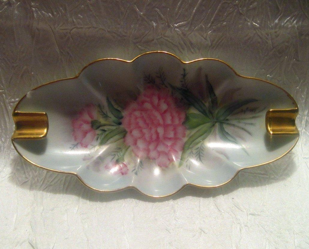 Vintage Porcelain Ashtray Pink Dianthus MG Davis 1961
