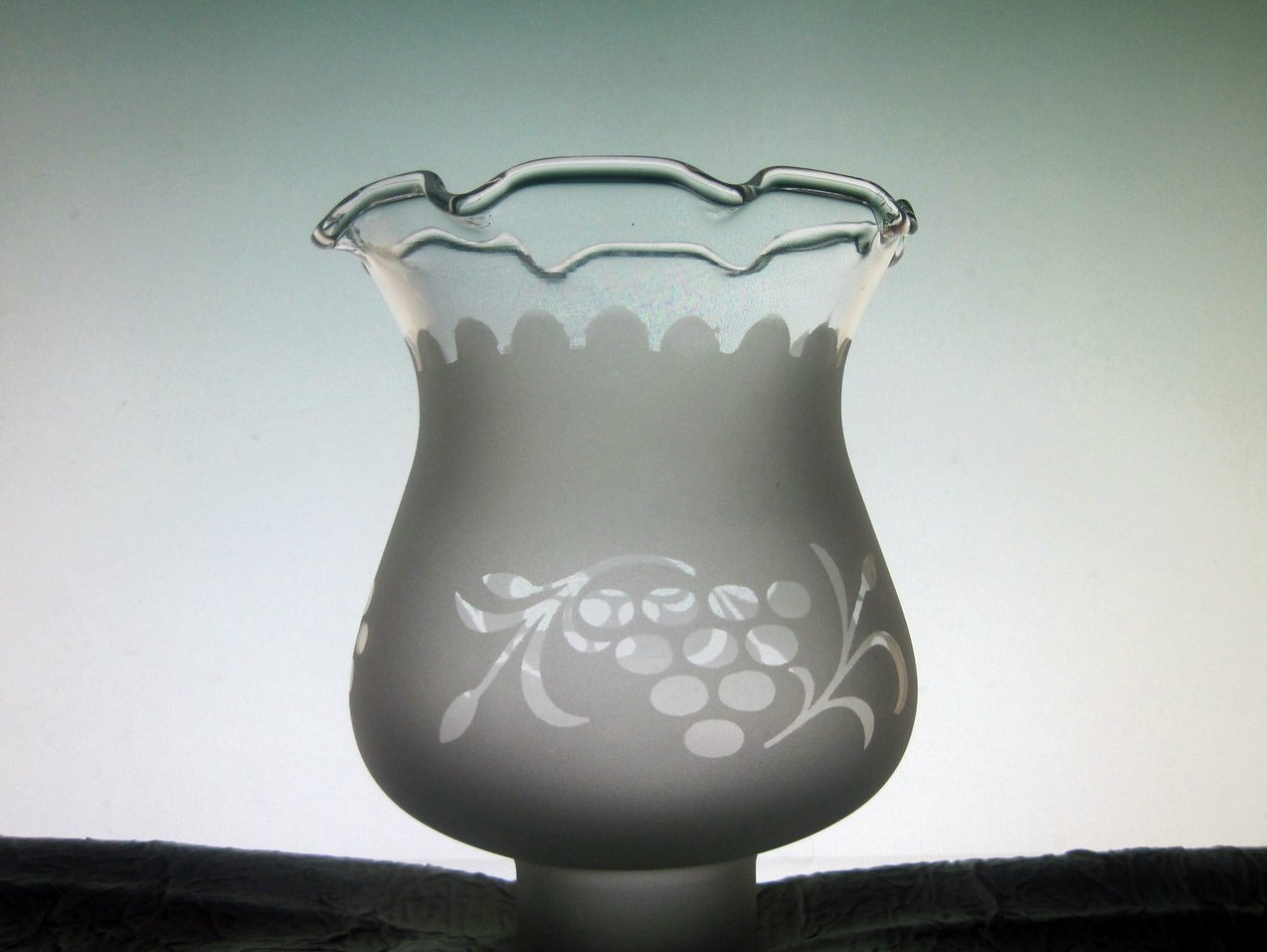 Glass Lamp Shade 1 5/8 fitter x 5 inches Frosted Victorian Grapes