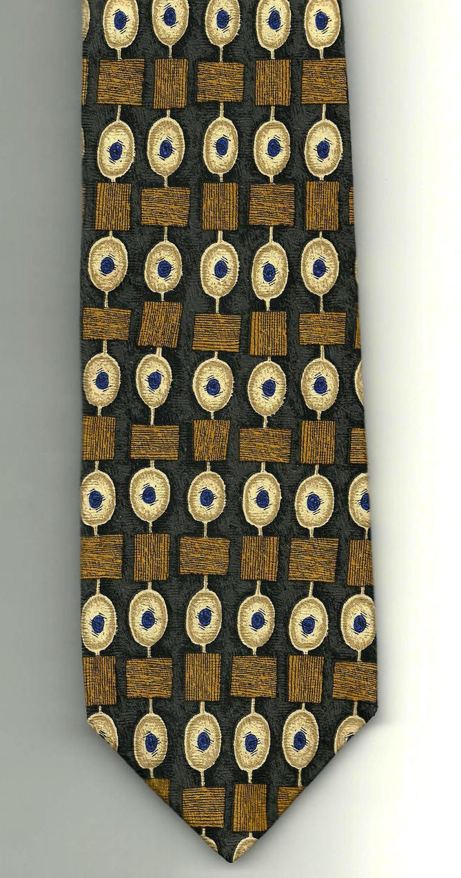 Image 1 of Ferrell Reed Nordstrom Mens Necktie Silk Brown Gold Blue Tie
