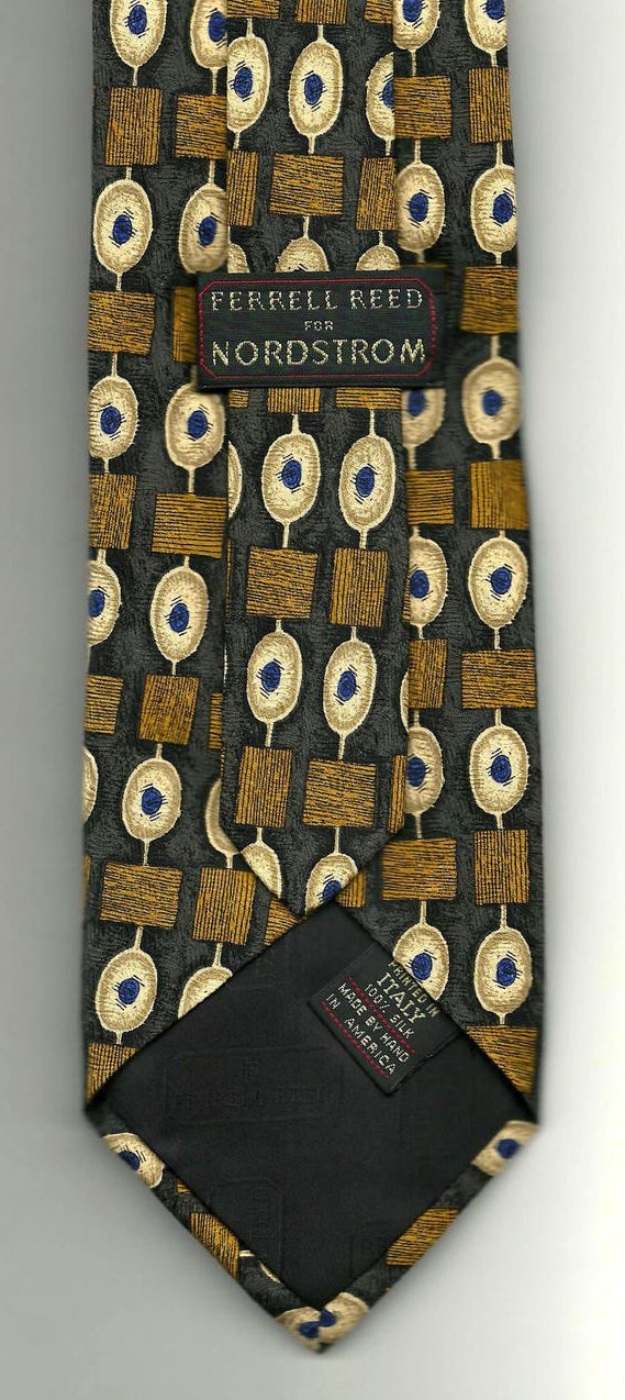 Image 2 of Ferrell Reed Nordstrom Mens Necktie Silk Brown Gold Blue Tie