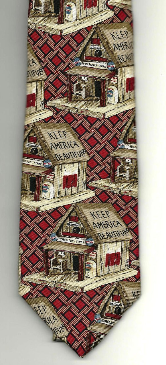 Image 1 of Necktie Bob Timberlake Keep America Beautiful Birdhouse Tie