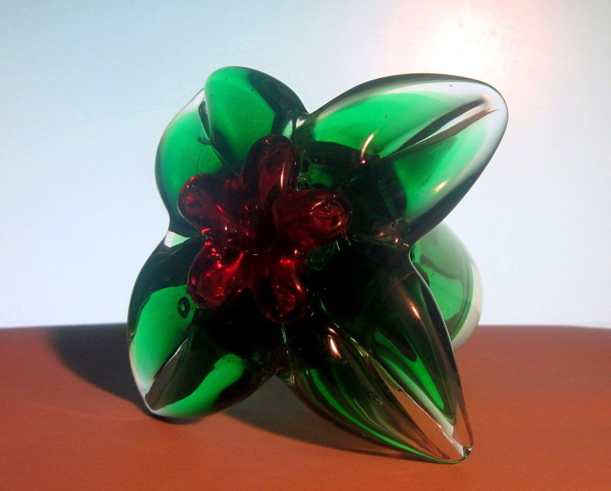 Glass Hummingbird Flower Green Red Heavy Paperweight
