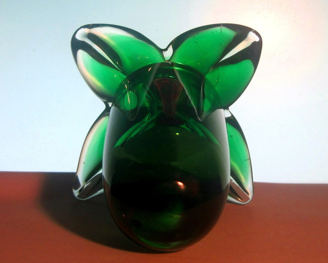 Image 2 of Glass Hummingbird Flower Green Red Heavy Paperweight