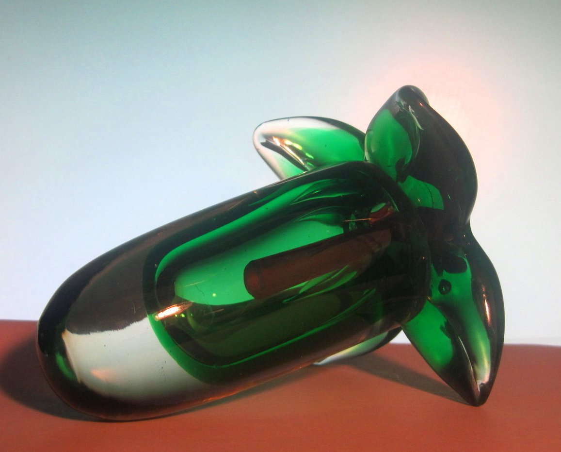 Image 3 of Glass Hummingbird Flower Green Red Heavy Paperweight