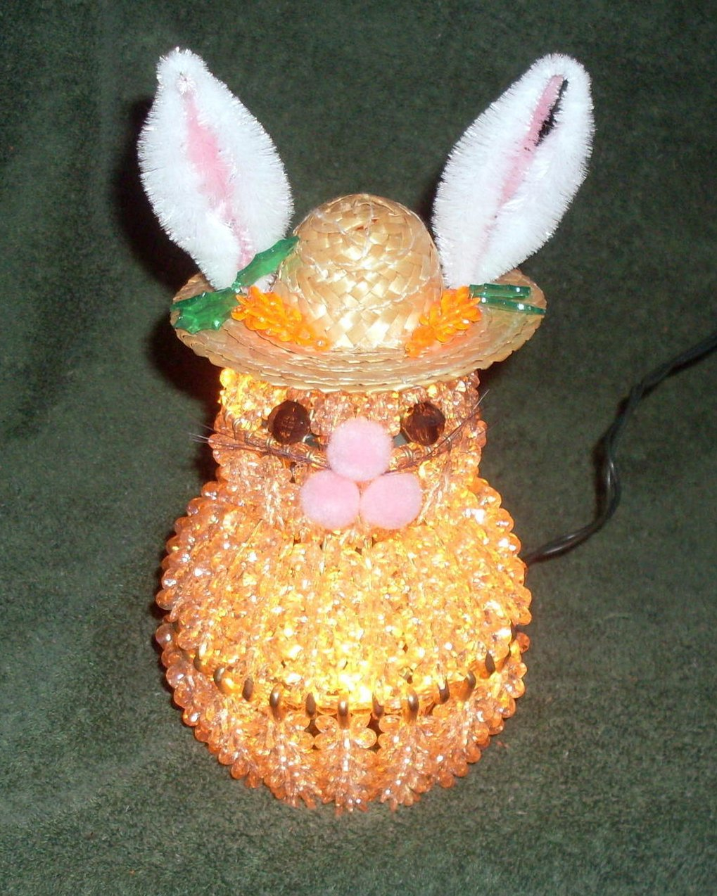 Easter Bunny Accent Night Light Lamp Beaded Hand Crafted
