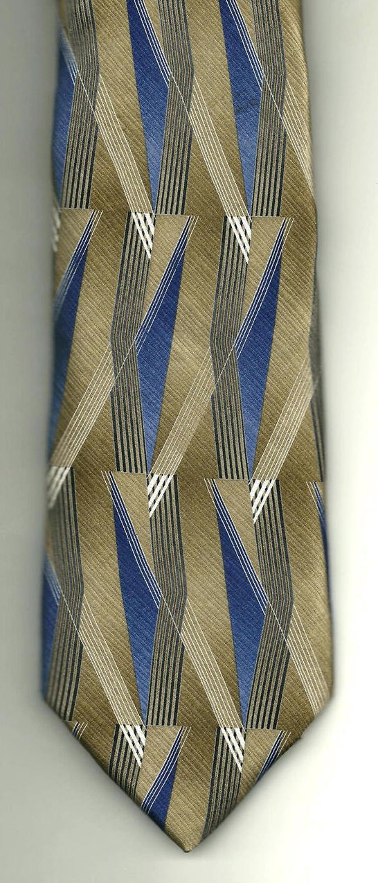 Image 1 of Stafford Mens Silk Tie Necktie Brown Blue White 62 inches