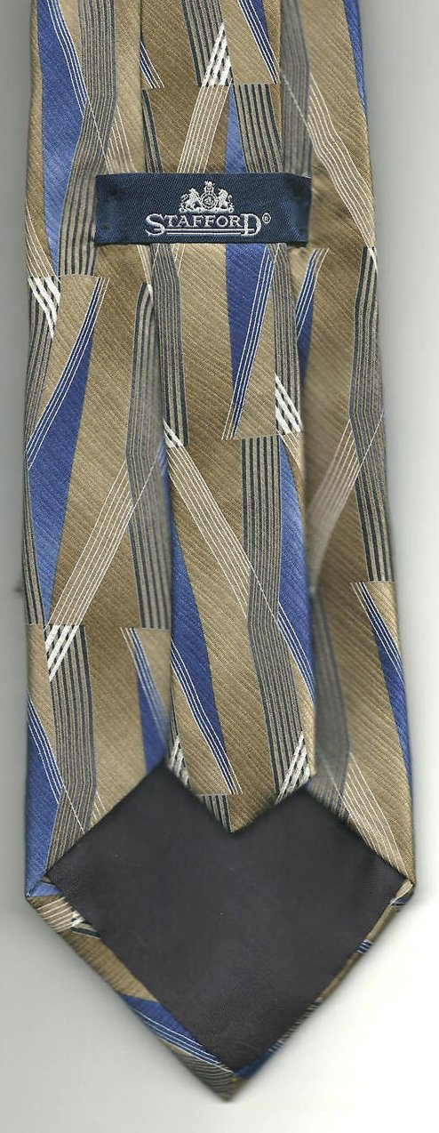 Image 2 of Stafford Mens Silk Tie Necktie Brown Blue White 62 inches