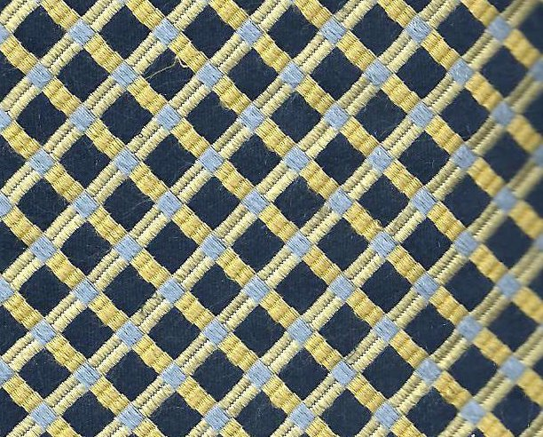 Stafford Mens Silk Tie Necktie Navy and Gold Diamond Print
