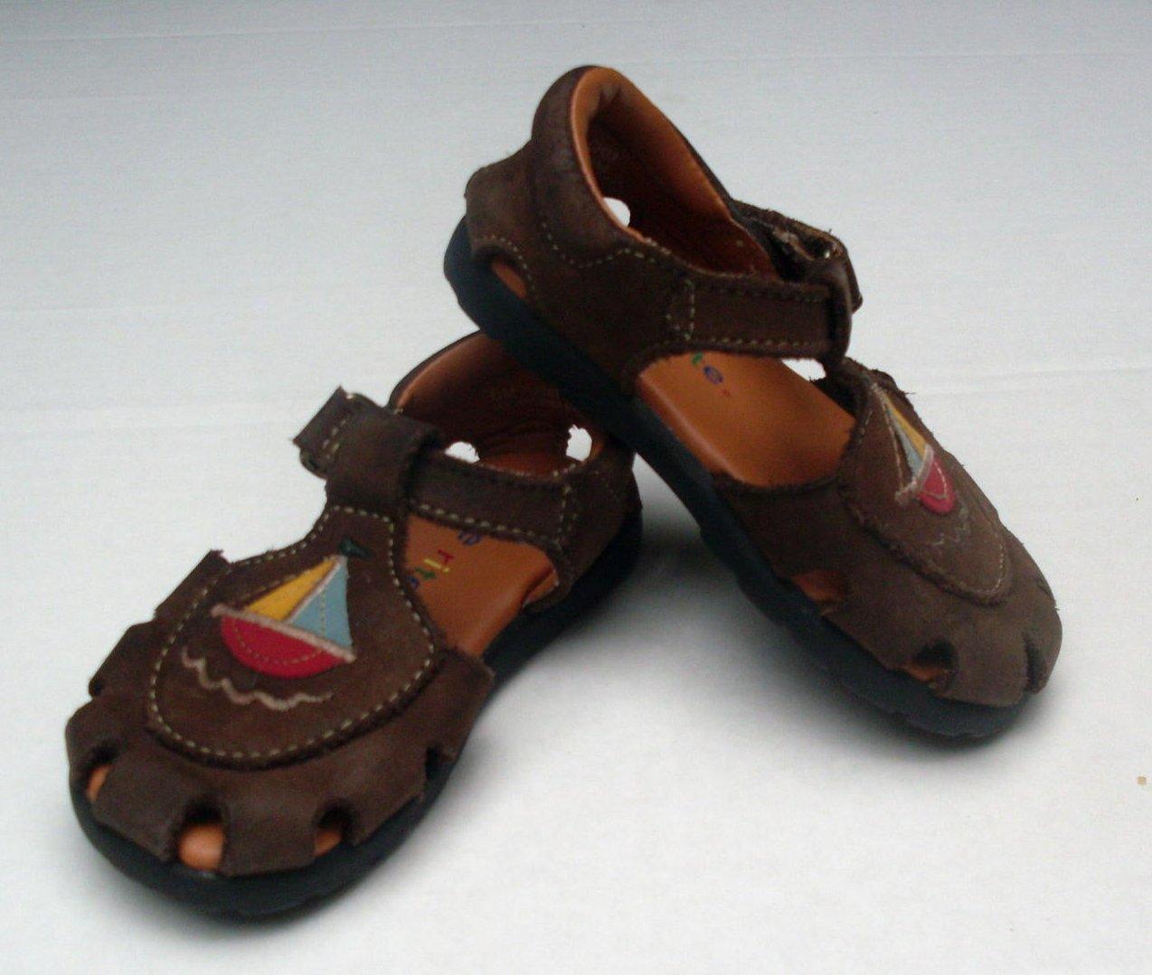 Stride Rite Toddler Girls Leather Sandal 5M Brown Sailboat